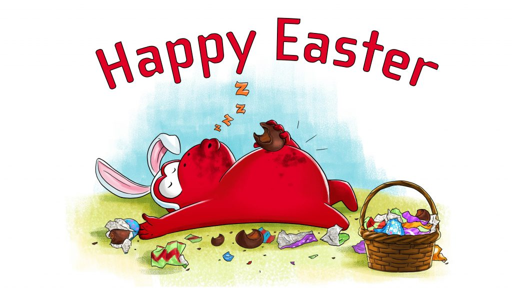 Easter Red Ape egg chocolate bunny rabbit funny happy easter comic illustration
